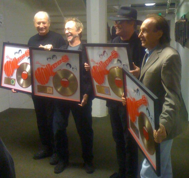 Bobby Hart receiving a gold record with The Monkees at the Greek Theater LA Nov. 10th!