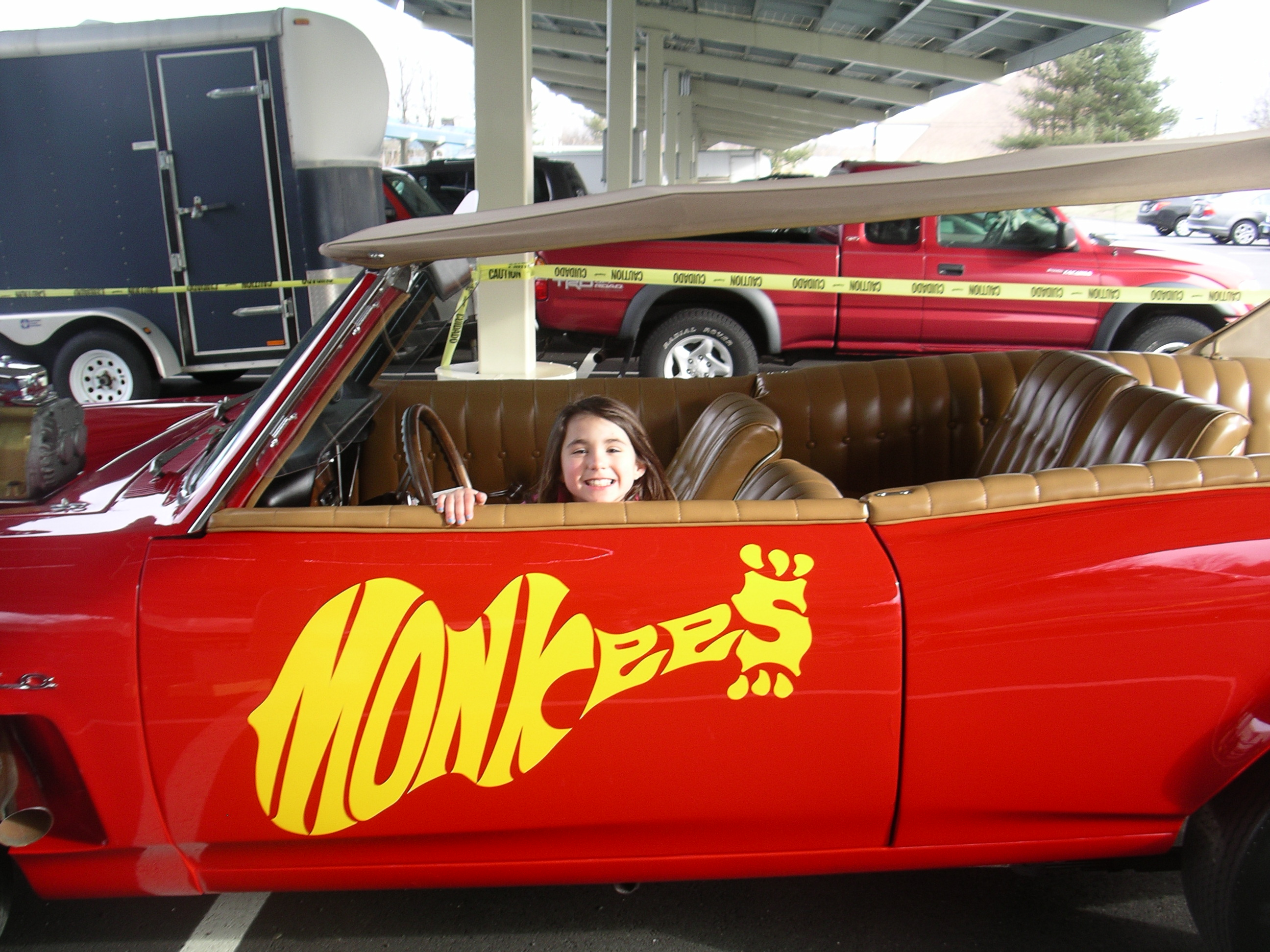 Trista in the Monkee Mobile
