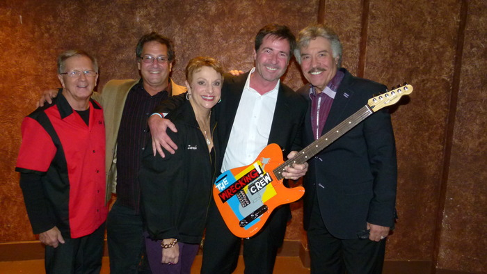 Wrecking Crew Guitar presented to Sponsor Tony Stubblefield by Bob & Sarah Heil.  Left to right.  Bob Heil, Denny Tedesco, Sarah Heil, Tony Stubblefield and Tony Orlando