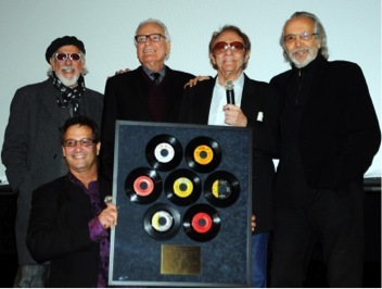 Photo: Beverly Hills screening, honoring Hal Blaine for 7 Grammy wins. Left to right- Denny Tedesco, Lou Adler, Jerry Moss, Hal Blaine, Herb Alpert.